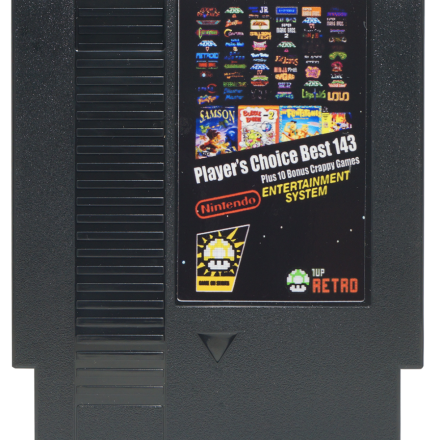 1UP Reto's Players Choice Top 143 in 1 plus 10 Crappy Games, Ducktales 2, Surprise at Dinosaur Peak, NES Multicart, Nintendo Multicart,