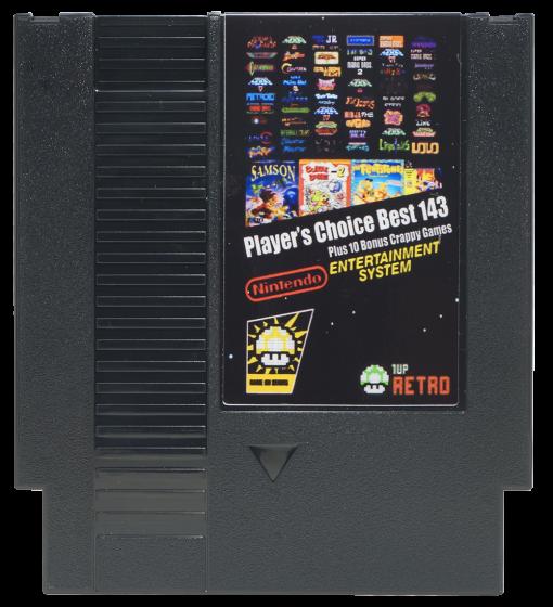 1UP Reto's Players Choice Top 143 in 1 plus 10 Crappy Games, Ducktales 2, Surprise at Dinosaur Peak, NES Multicart, Nintendo Multicart,